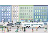 Straße in der Stadt mit Personen und Autos