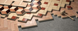 Wood parquet laid on the floor. House construction and renovation concept. - 263222406