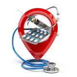 Hospital or pharmacy location and direction concept. Pin or map point with pills, stethoscope and jerring isolated on white. - 263222421