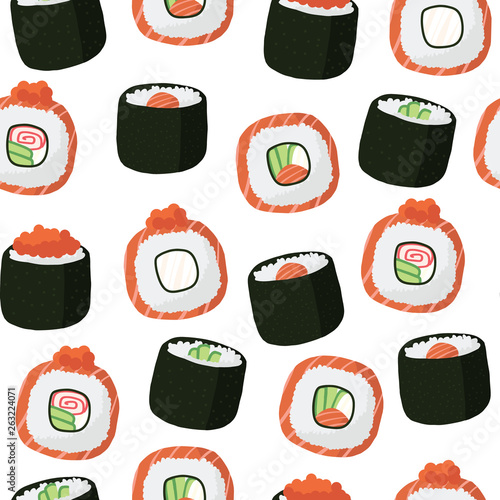 seamless pattern of vector illustrations of Japanese sushi food and rolls with salmon, eel, vegetables in flat style