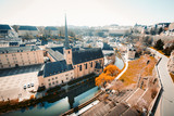 Old town of Luxembourg City with Alzette river in summer, Luxembourg