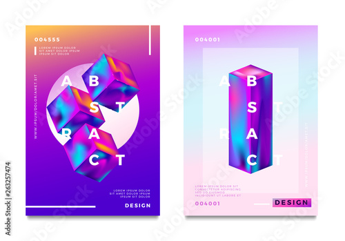 Abstract gradient poster and cover design. Geometric shapes. Vector illustration.