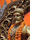 Closeup view of Hindu maharastrian or maratha King Shivaji idol in a temple