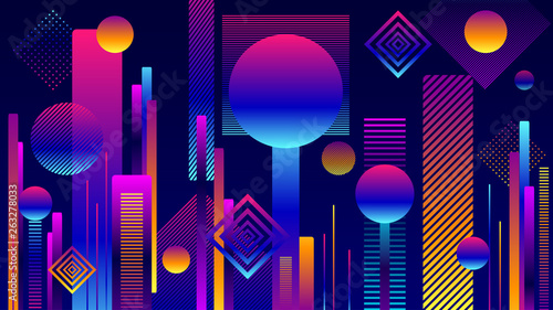 Abstract Futuristic Geometric City background or Poster in  colorful colors and in flat style for internet web site or for screen mobile telephone or for wallpaper or for opening  - 263278033