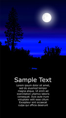 Colorful background for flyer or website design. Neon lights. Moonlight. Violet, blue  and black tones. © yik2007
