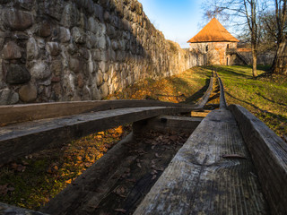 wooden rails