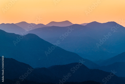 Sunset over mountains in South Mexico