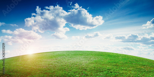 Natural field landscape, sky and clouds