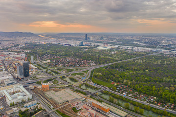 Beautiful drone shot of Vienna Austria at sunset