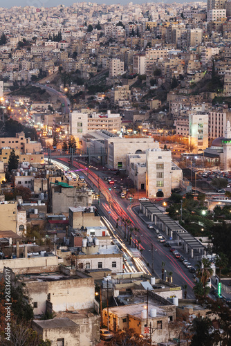 Cityscape of Amman capital city in Jordan, Middle East in evening © SasinParaksa