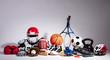Leinwandbild Motiv Close-up Of Sport Balls And Equipment