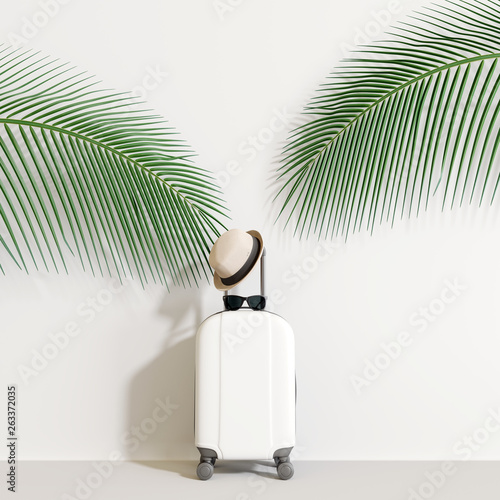 Suitcase with traveler accessories and coconut leaves on white background. travel concept.minimal style. 3d rendering © aanbetta