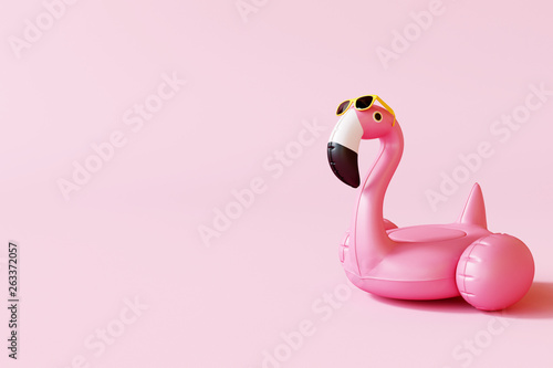 Flamingo float with sunglasses on pastel pink background. Summer minimal concept. 3d rendering © aanbetta