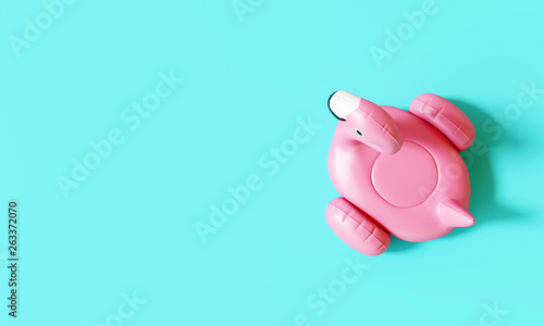 Top view flamingo float on pastel blue background. Summer minimal concept. 3d rendering © aanbetta