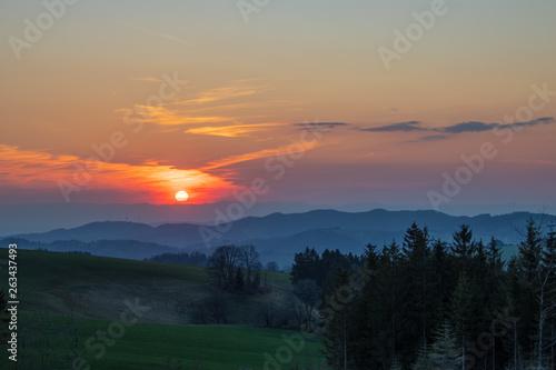 canvas print picture Sonnenuntergang im Schwarzwald