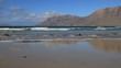 canvas print picture - sable et roche sur une plage de l'Atlantique