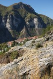 Alpi Apuane, Massa Carrara, Tuscany, Italy. Panoramic view of the town of Vinca. Small town located in the municipality of Fivizzano. In the past the inhabitants were employed to excavate the marble.