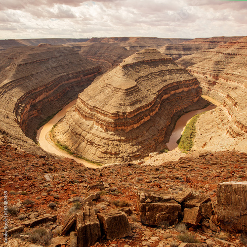 canvas print picture View from Goosenecks State Park, Utah USA.