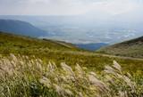 Scenic view from the north rim of Aso volcanic caldera - Aso-Kuju National Park, Kumamoto prefecture, Japan