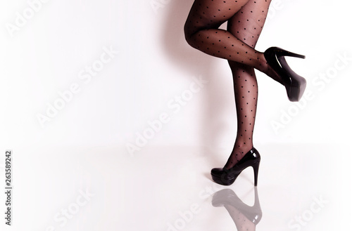 canvas print picture Female in attractive stockings , copy space