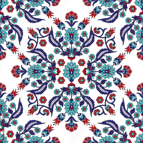 Turkish arabic pattern vector seamless. Ottoman iznik tile design with tulip flowers. Persian background