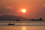 Colorful of sunset on sea scape background
