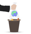 Plastic bag with the planet earth thrown into the trash. - 263638473