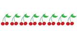 Painted vector illustration of cherries on white background. Symbol of fruit, food,vegetarian,vegan.