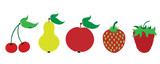 Painted vector illustration of fruits on white background. Symbol of cherry,pear,apple,strawberry, raspberry, food,vegetarian,vegan.