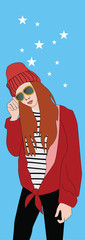vector images of teen girls in pop art style, fashion girl in hat and red jacket, illustration in hand-drawn style