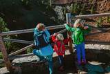 kids looking at volcano crater in Gran Canaria, Spain