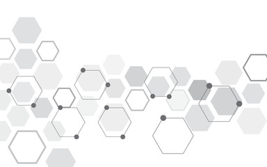 Abstract hexagon on white background. Can be used presentation, poster and template for business. Technology or science concept. Vector illustration.