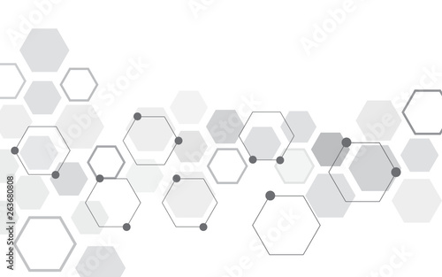 Abstract hexagon on white background. Can be used presentation, poster and template for business. Technology or science concept. Vector illustration. © Nattha