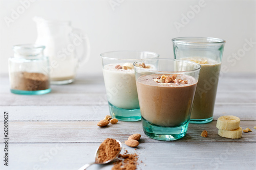Chocolate Banana smoothie with almonds. Healthy lifestyle © lucky_elephant