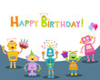 Cute Birthday Card With Robots