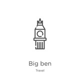 big ben icon vector from travel collection. Thin line big ben outline icon vector illustration. Outline, thin line big ben icon for website design and mobile, app development.