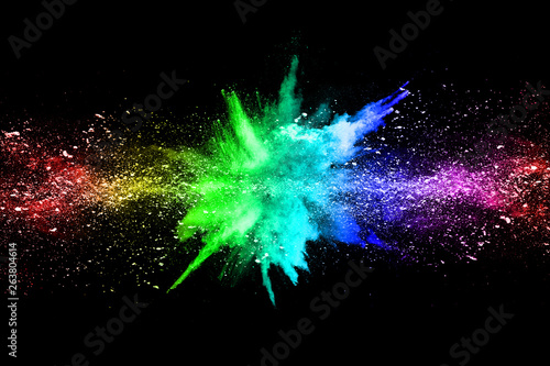 abstract colored dust explosion on a black background.abstract powder splatted background, © kitsana