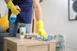 Leinwandbild Motiv Male janitor cleaning table in room