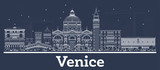 Outline Venice Italy City Skyline with White Buildings.