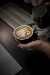 Swan design in coffee