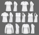 Women white tank top t-shirts, sportswear mockups