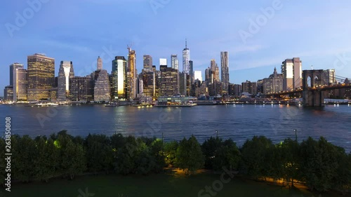 Timelapse dawn daylight New York downtown ferry terminals
