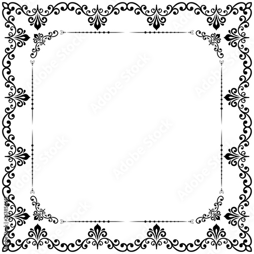 Classic square frame with arabesques and orient elements. Abstract ornament with place for text. Vintage black and white pattern © Fine Art Studio