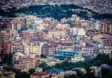Buildings seen from Tibidabo mountain in barcelona, Spain