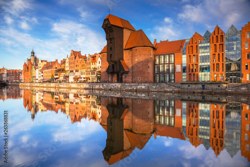 Old town of Gdansk reflected in the Motlawa river at sunrise, Poland. © Patryk Kosmider