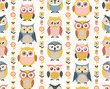 seamless cute cartoon owls pattern - Vector - 263870212