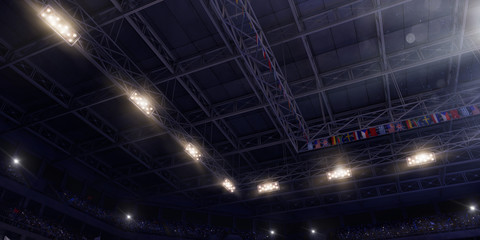 Professional gymnastic gym. Bottom view. Gym ceiling. 3D illustration