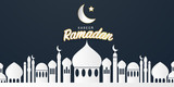 Ramadan kareem 2019 background. Paper cut vector illustration with mosque and moon, place for text greeting card and banner