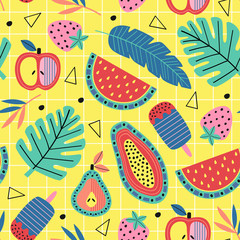 seamless pattern with fruit and plants on yellow background  - vector illustration, eps