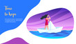Girl sailing on a paper ship. Time to hope concept. Modern vector illustration